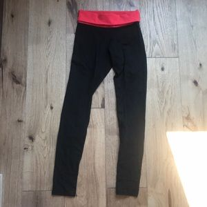 Small Black Leggings with Fold Over Red Waistband